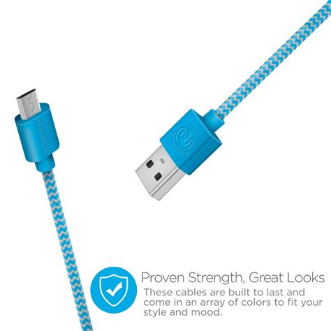 Micropack Data Sync Charge Lightning Cable Usb I 601 Kabel Iphone braided micro charge sync usb cable blue