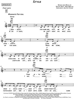 taylor swift style sheet music taylor swift style chords piano