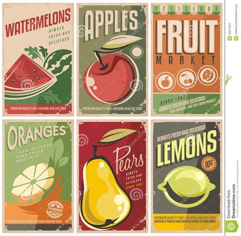 Rétros Conceptions D'affiche De Fruit Illustration de