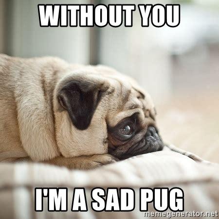 Sad Pug Meme - without you i m a sad pug miss you pug meme generator