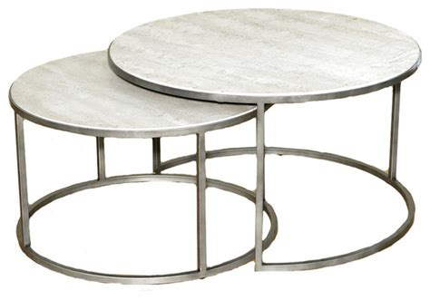 Round Dining Room Sets For 4 by Hammary Silver Metal Round Nesting Coffee Tables