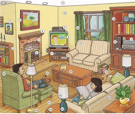 Livingroom World living room vocabulary english lesson pdf