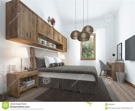 Loft Style Furniture by Bedroom Loft Style With Wooden Furniture And White Walls