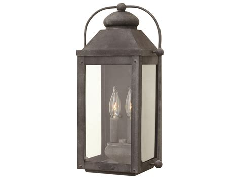 hinkley lighting anchorage aged zinc two light outdoor