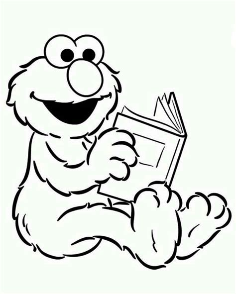 Baby Elmo Reading A Book In Sesame Street Coloring Page
