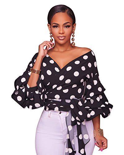 Blouse Vivibelt s v neck wrap puff sleeve polka dots blouse shirt tops with belt black xx