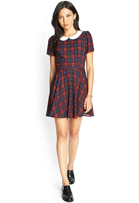 Plaid Collared Dress lyst forever 21 plaid pan collar dress in blue