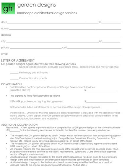 gardening contract template graden designer contract exle