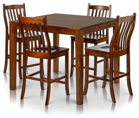 Indoor Bistro Table And Chair Set Counter Height Square Solid Maple Wood Table And Chair Set Of 4 Transitional Indoor Pub And