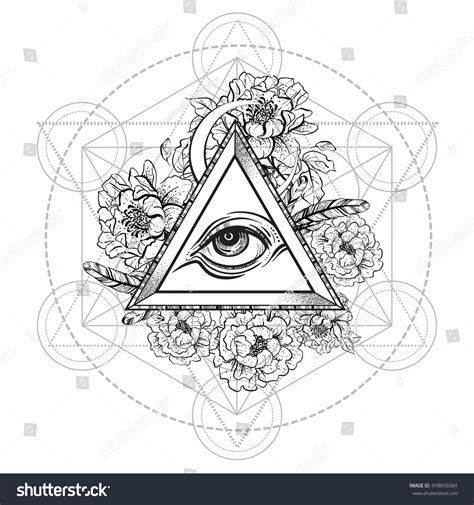 sacred geometry symbol all seeing eye stock vector vector all seeing eye pyramid symbol with peony flower and sacred geometry eye of providence