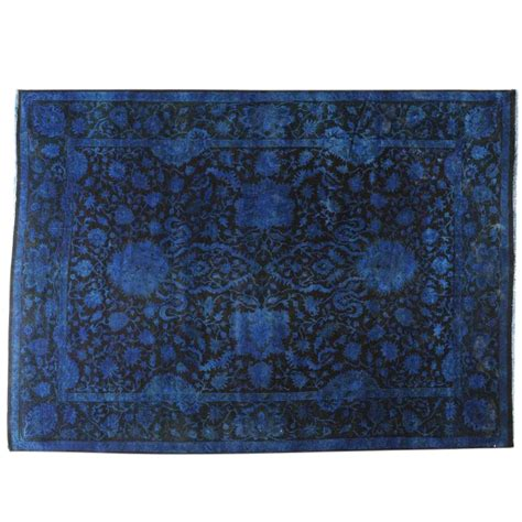 blue and black rugs silky vintage blue and black rug 10 215 14 chairish