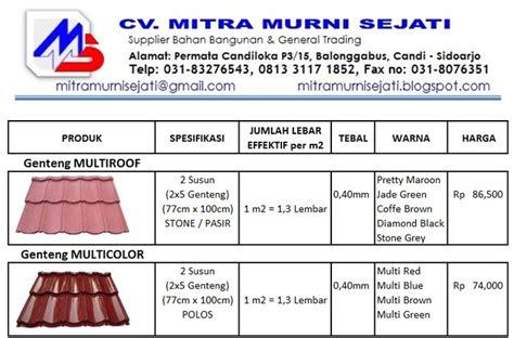 Harga Clear Coating Untuk Genteng jual genteng metal pasir non pasir multiroof mitra