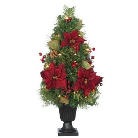 home accents holiday 32 in burgundy poinsettia and berry