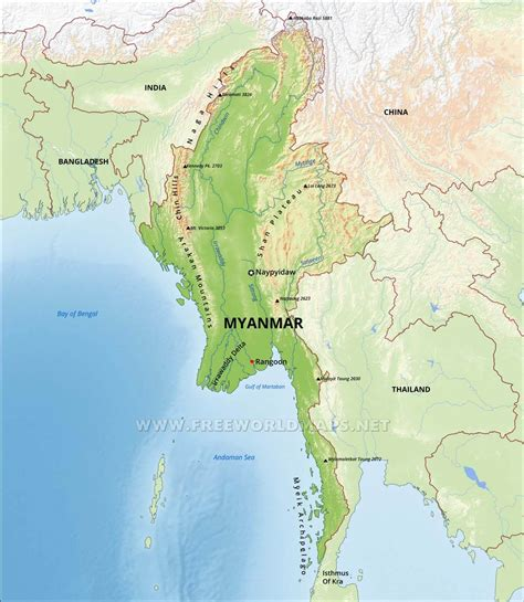 myanmar physical map myanmar physical map