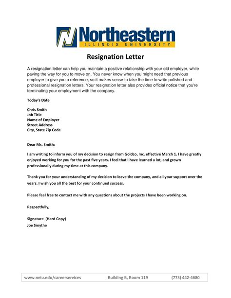 official resignation letter examples examples