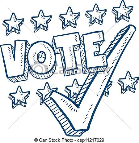 doodle 4 vote html vector illustration of vote with check sketch