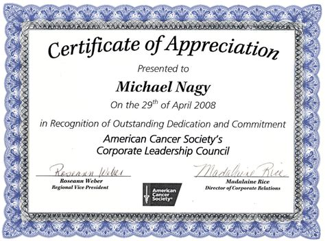 editable certificate of appreciation template exle