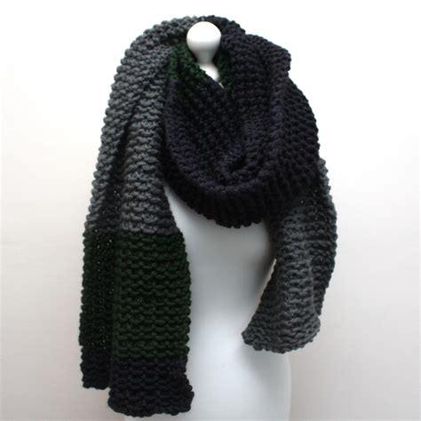 Chunky Knit Scarf blue green and grey oversized chunky knit scarf urbanknit