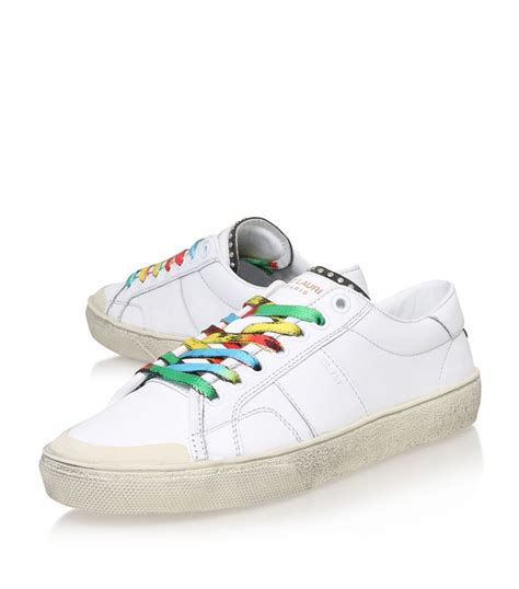 s laurent sneakers laurent rainbow laces studded sneaker in white lyst