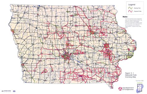 detailed map of iowa iowa trails 2000 iowa department of transportation