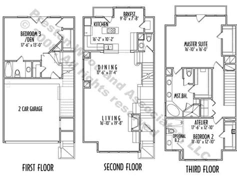Narrow Lot House Plans Houston | 3 story narrow lot house plans luxury narrow lot house