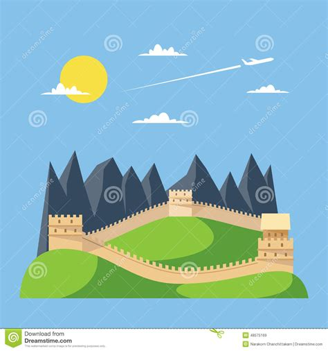 Great Wall Style flat design great wall of china stock illustration image 48575169