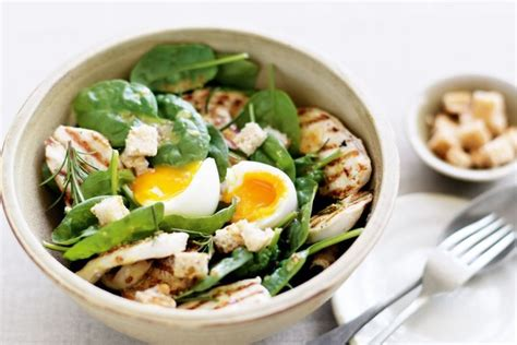 chicken egg salad five easy recipes how to make egg salad chicken spinach and soft boiled egg salad