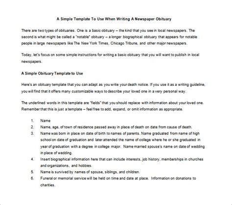 newspaper obituary template 7 free word pdf documents
