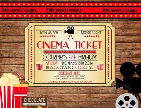 printable theatre tickets movie night invitation movie ticket invitation cinema