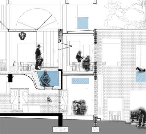 section of swimming pool urban research studio student housing pub by bogdan