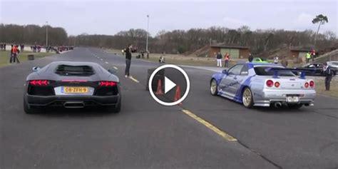 Nissan Gtr Vs Lamborghini V12 Lamborghini Aventador Lp700 4 Vs Nissan Gtr R34 Vs
