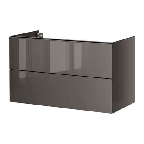 godmorgon sink cabinet with 2 drawers high gloss gray