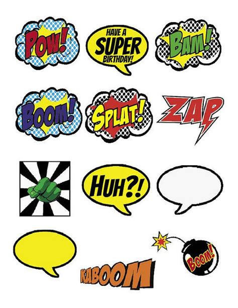 superhero cupcake toppers boom pow splat by 7under1designs