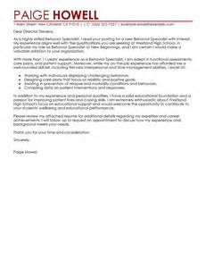 Specialist Cover Letter by Leading Professional Behavior Specialist Cover Letter Exle Cover Letter Exles Resources