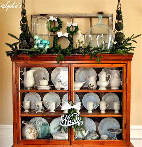 top of cabinet christmas decor sophia s a christmas cabinet and a