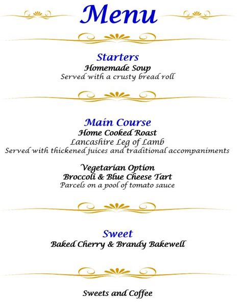 a birthday to celebrate 4 decades of fundraising - 3 Course Dinner Menu