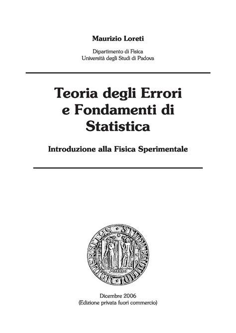 statistica sociale dispense teoria degli errori e fondamenti di statistica dispense