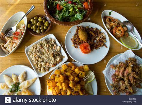 cuisine liban mezze variety of lebanese food jounieh lebanon stock