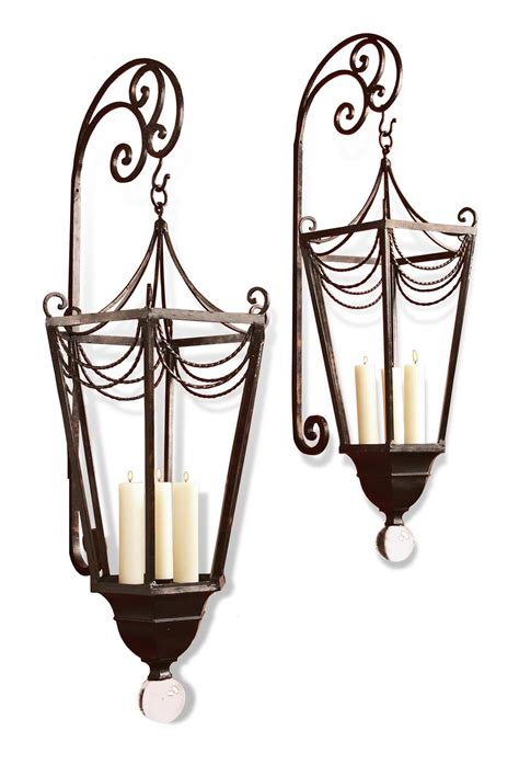 Lantern Sconce Candle Perpignon Large Metal Ornate Wall Candle Sconce
