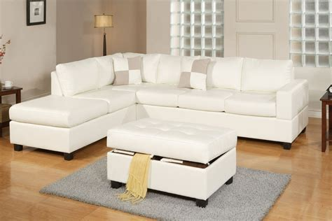 3 Piece Sectional Sofa And Ottoman Bonded Leather Cream