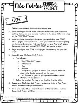 Brain Book Report by Book Report File Folder Reading Project Book Project Tpt