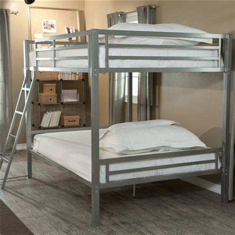 Metal Bunk Bed Ladder Size Bunk Bed With Ladder In Silver Metal Finish Fastfurnishings