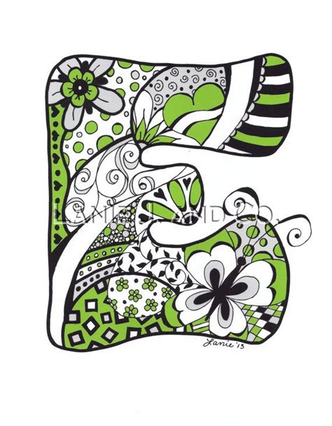 doodle e doodled letter e illustration 81 2 x 11 print by