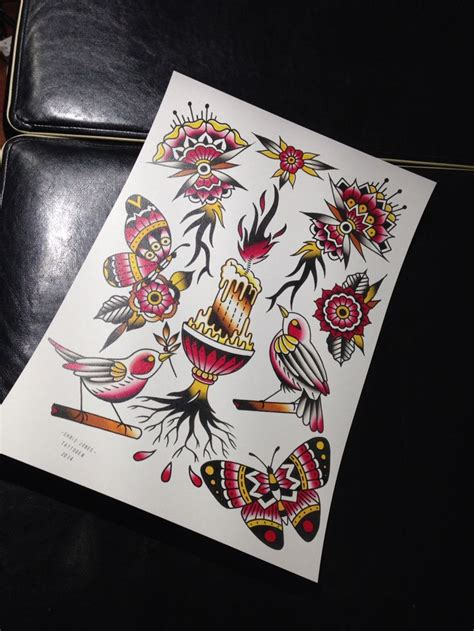 tattoo ink out of sheets tattoo flash sheet water colour and ink by chris jones