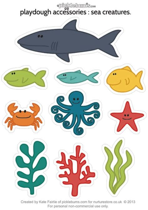 templates for under the sea creatures printable sea creatures for ocean play dough nurturestore