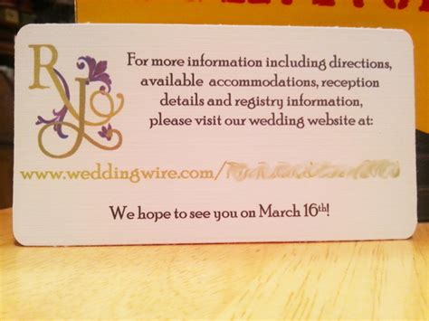 Wedding Website Insert Card Template by Armadillo Invitation Reveal Weddingbee