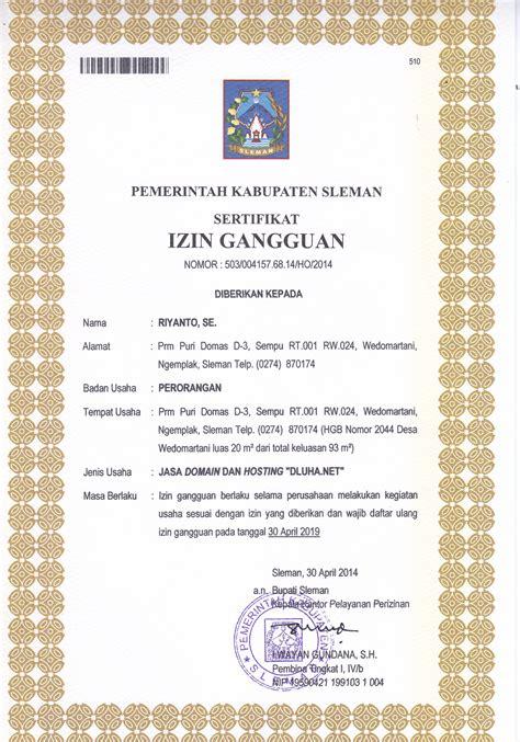 contoh surat ijin usaha kecil izin gangguan ho singo wijaya