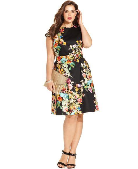 Sleeve Print A Line Dress spense plus size cap sleeve floral print a line dress