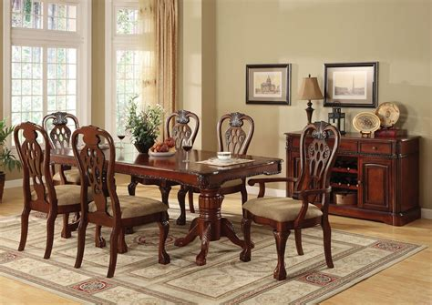 cherry dining room table 7pc georgetown formal dining set la furniture center