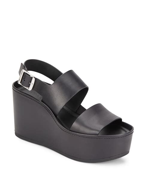 Sandal Idalia vince idalia leather platform wedge sandals in black lyst